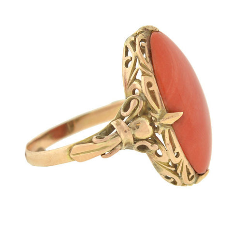 Victorian 14kt Natural Salmon Coral Filigree Ring