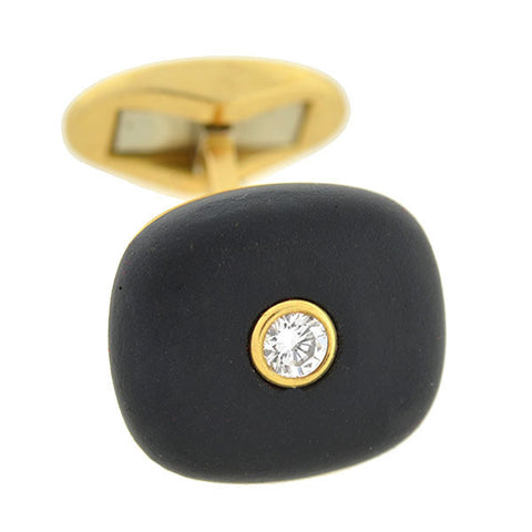 Retro 18kt Gold Onyx & Diamond Cufflinks