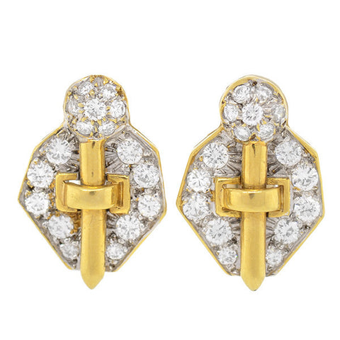 Estate 18kt & Pave Diamond Clip Earrings