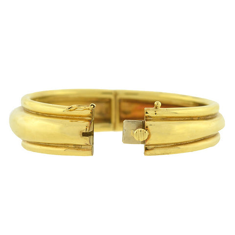 Estate 18kt Yellow Gold Hinged Bangle Bracelet