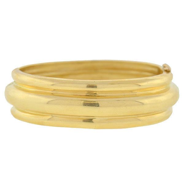 Estate 18kt Gold Hinged Bangle Bracelet 43.8dwt