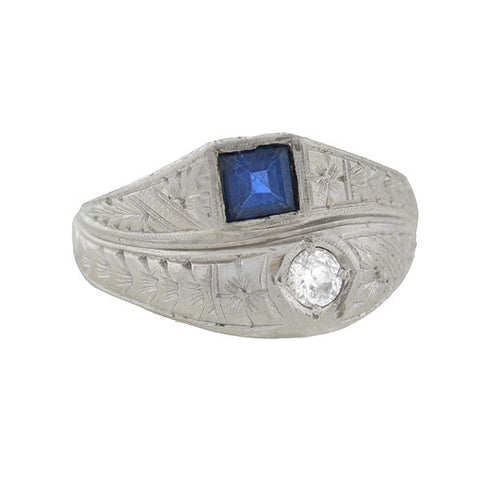 Art Deco 18kt Sapphire & Diamond Asymmetrical Double Band