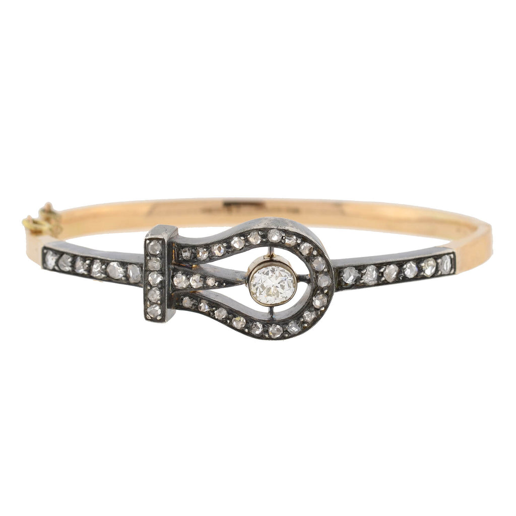 Victorian French 18kt/Sterling Rose Cut Diamond Buckle Bracelet
