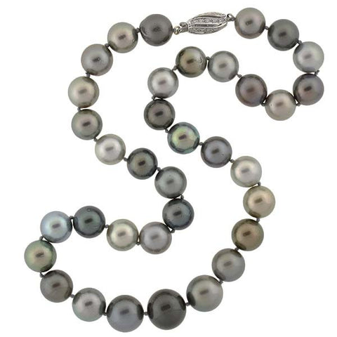Estate 18kt & Diamond Tahitian Pearl Necklace 19""