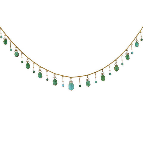 Victorian 18kt Carved Turquoise Scarab Festoon Necklace