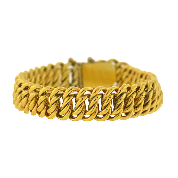 Victorian 18kt Yellow Gold Woven Chain Link Bracelet