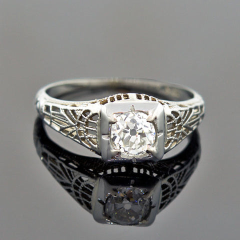Art Deco 18kt Diamond Engagement Ring 0.54ct