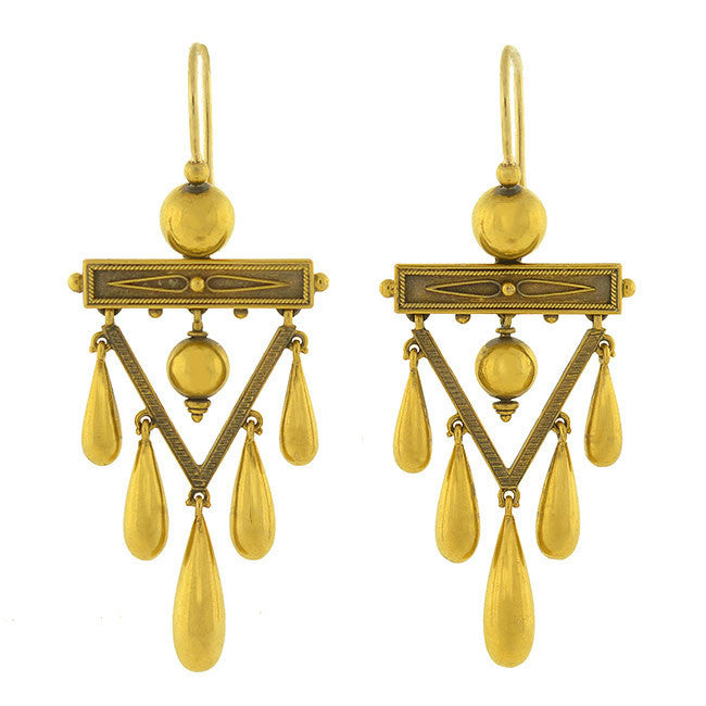 Victorian 18kt Etruscan Chandelier Earrings