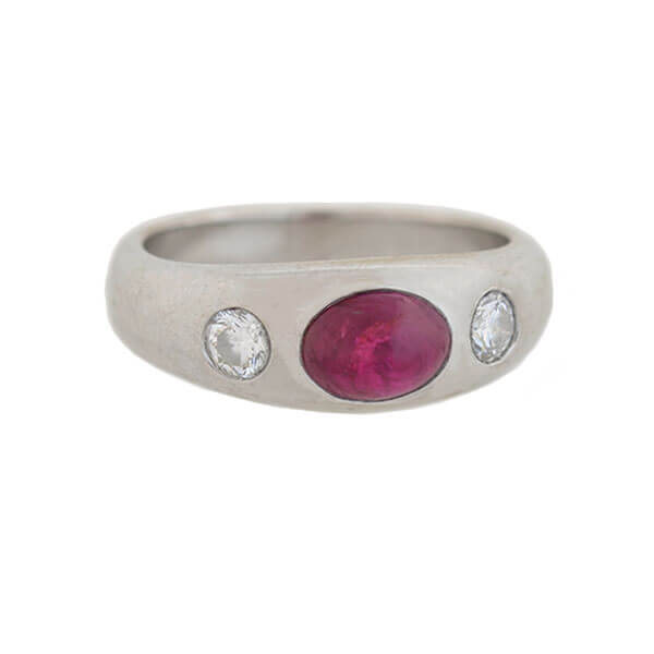 Late Art Deco German 18kt Ruby Diamond 3-Stone Ring