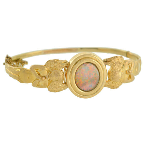 Art Nouveau 18kt Opal Bracelet with Angel Motif
