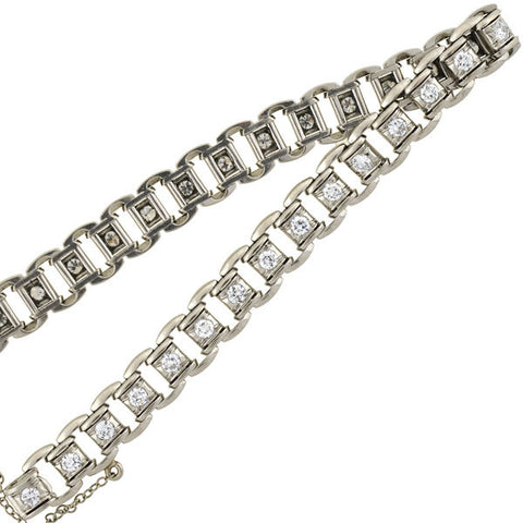 Late Art Deco Platinum Link Diamond Line Bracelet 2.00ctw