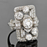 Early Retro Platinum Diamond Encrusted Ring 4.20ctw