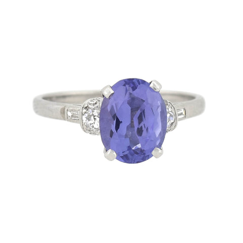 Vintage Platinum 2.50ct Tanzanite + Diamond Ring
