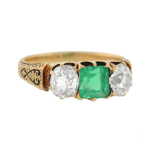 Victorian 14kt Emerald & Diamond 3-Stone Ring