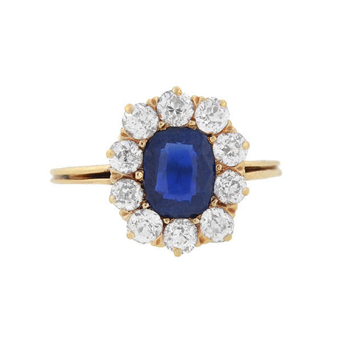 Victorian 14kt Sapphire & Diamond Ring 1.00ctw center