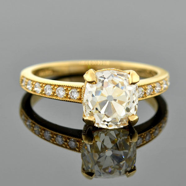 Estate 18kt Champagne Diamond Engagement Ring 2.10ct