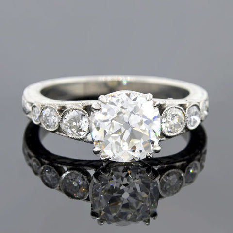 Art Deco Style Platinum Diamond Engage Ring 2.31ct
