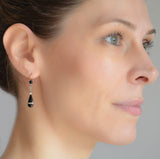 Edwardian 18kt/Platinum Diamond + Onyx Teardrop Earrings