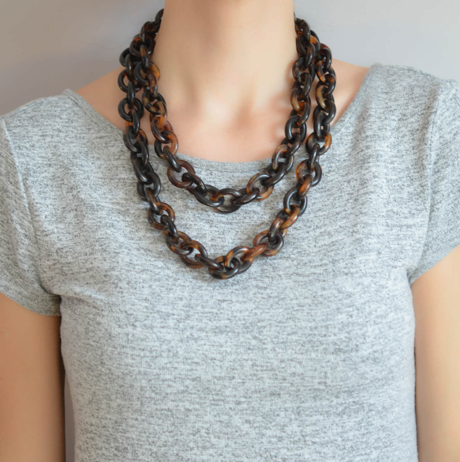 Victorian Long Carved Tortoise Shell Chain Necklace 50""