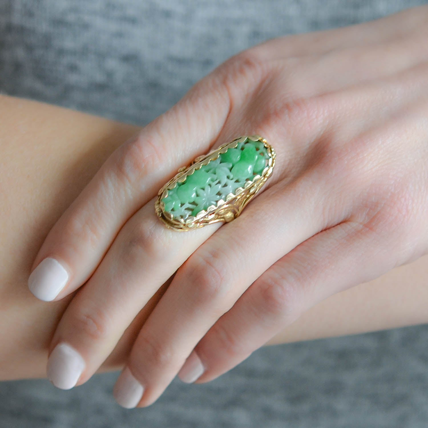 Art Deco 14kt Large Hand Carved Jade Ring with Floral Motif