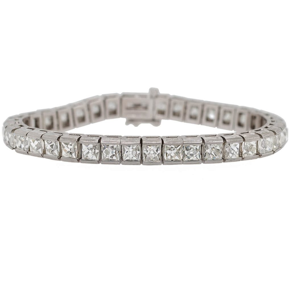 Custom Art Deco Style Platinum + French Cut Diamond Line Bracelet 20.90ctw