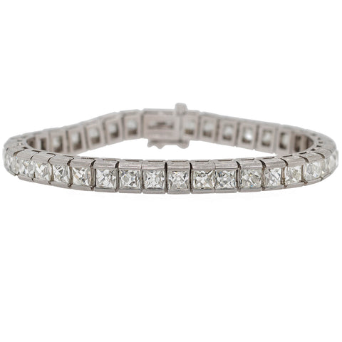 Art Deco Style Platinum + French Cut Diamond Line Bracelet 20.90ctw