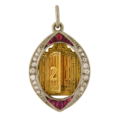 "Edwardian Platinum/14kt Ruby + Diamond ""21"" Golden Door Charm Pendant"