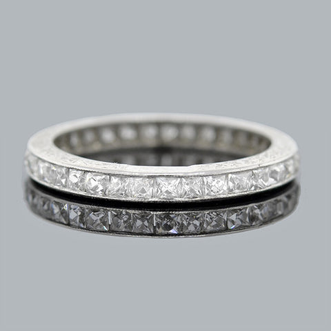 Edwardian Platinum & French Cut Diamonds Eternity Band