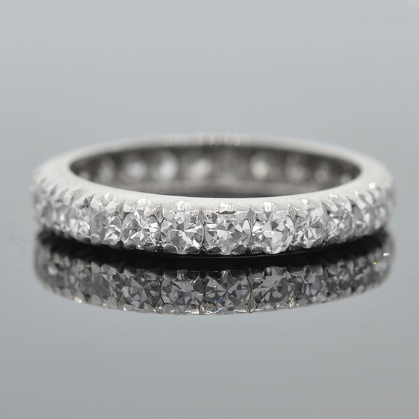 Art Deco Platinum Single Cut Diamond Eternity Band 1ctw