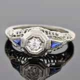 Art Deco 18kt Diamond & Sapphire Engagement Ring .20ct