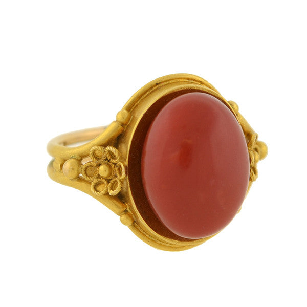 Victorian 22kt Oxblood Coral Cabochon Ring