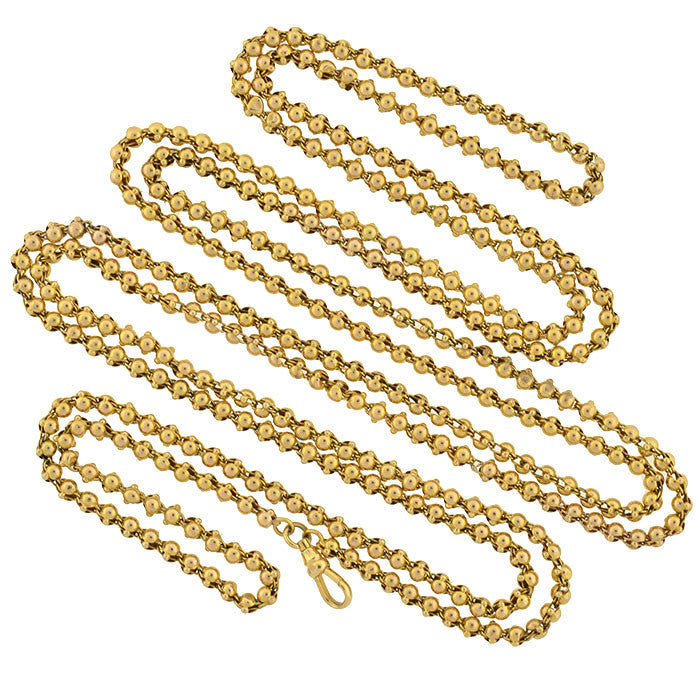 Victorian 14kt Long Ball Link Chain with Clasp 58""