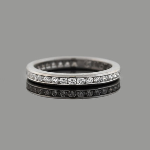 TIFFANY & CO. Estate Platinum Diamond Wedding Band .24ctw