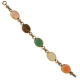 Late Art Deco 12kt Gold-Fill Multi-Stone Scarab Bracelet