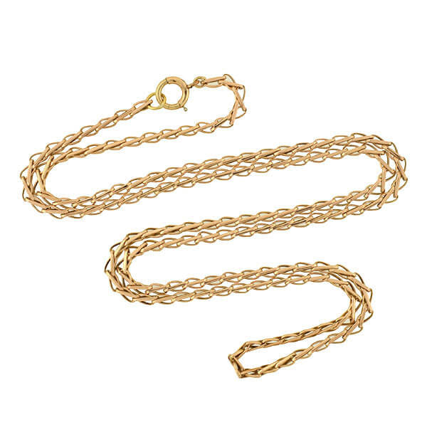 Victorian 14kt Gold Braided Link Chain 27""