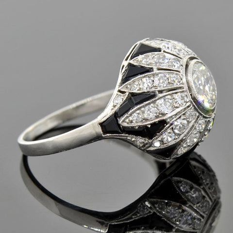 Art Deco Platinum Diamond Onyx Engagement Ring 0.90ct