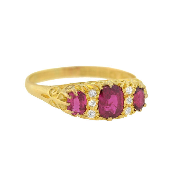 Late Victorian English 18kt Burmese Ruby & Diamond Ring