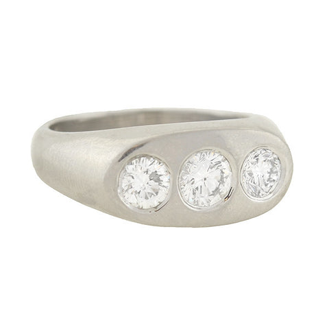 Art Deco Platinum 3-Stone Diamond Gypsy Ring 1.15ctw