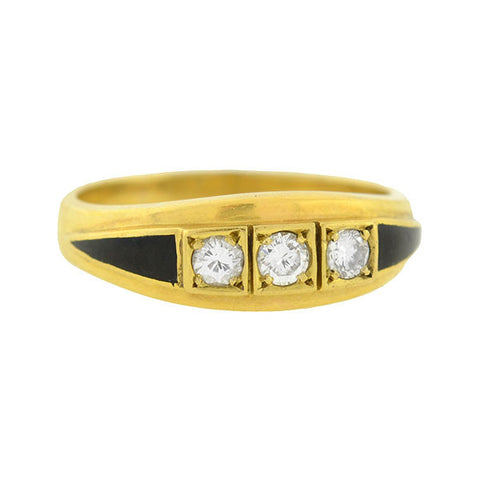 Art Deco French 18kt Diamond Enamel 3-Stone Ring