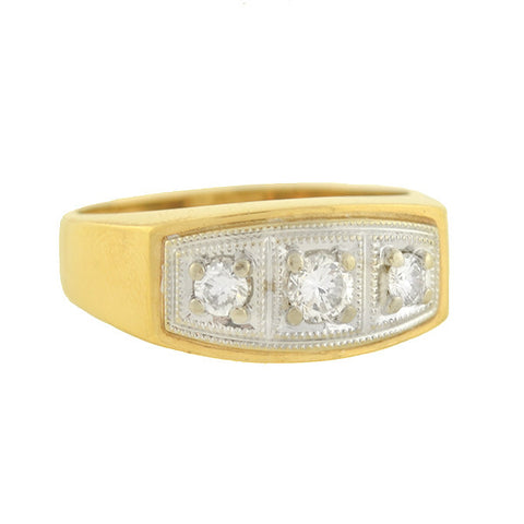 Retro 14kt Mixed Metals 3-Stone Diamond Ring .55ctw