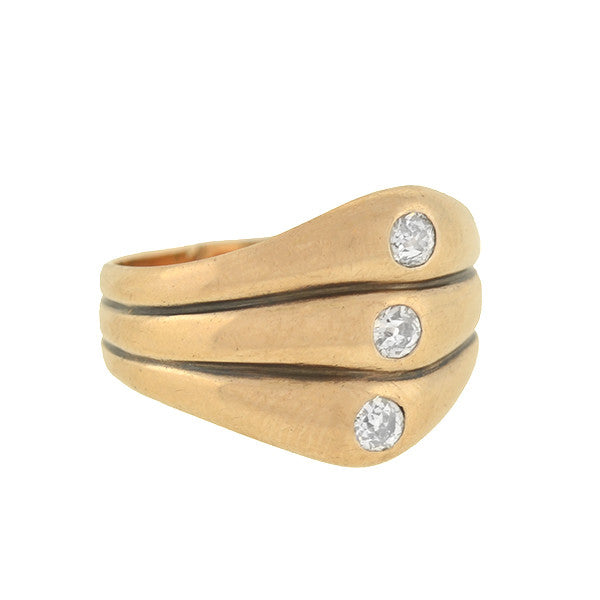 Art Deco 14kt Diamond 3-Stone Triple Stacked Band .45ctw