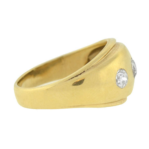 Edwardian 14kt Gold & 3-Stone Diamond Ring