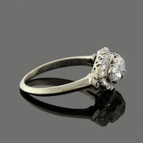 Edwardian 18kt Mine Cut Diamond 3-Stone Cluster Ring 1ctw