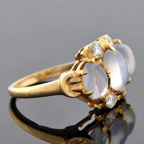 Retro 14kt 3-Stone Moonstone Diamond Ring