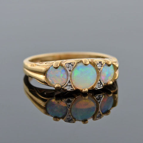 Art Nouveau 14kt 3-Stone Opal & Diamond Gypsy Ring