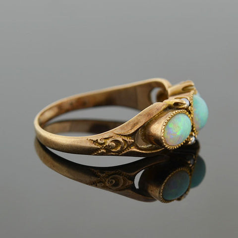Art Nouveau 14kt Gold 3-Stone Opal & Seed Pearl Ring