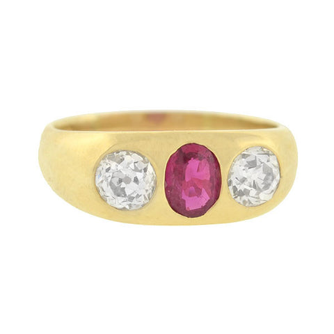 Late Victorian 18kt Ruby & Diamond Gypsy Ring