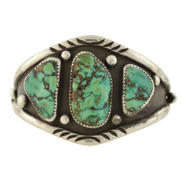 Vintage Sterling Turquoise American Indian Cuff Bracelet