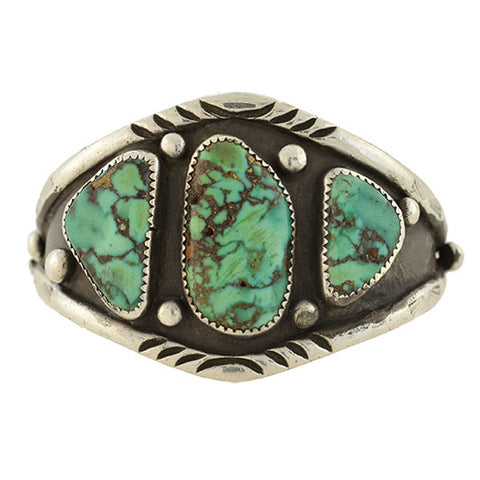 Vintage Sterling Turquoise Native American Cuff Bracelet