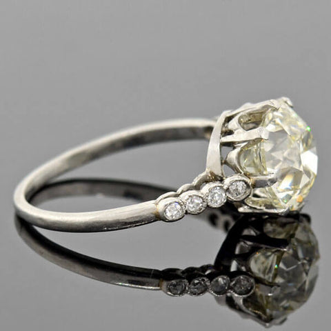 Edwardian Platinum Diamond Engagement Ring 3.01ct